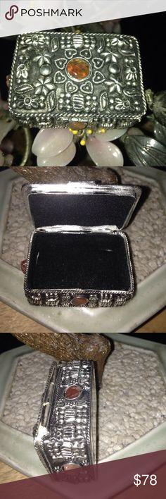Vintage gem stone jewelry box Gorgeous carnelian in 800 silver velvet inside Vintage Jewelry