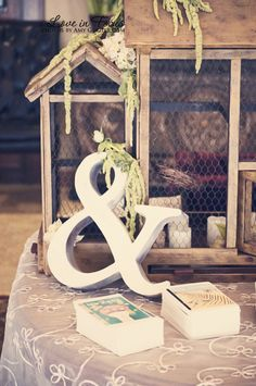 "Diana.  ""&"" sign is cute for card table with bird cage I have. along with guest signing book and maybe table number cards all on one table"
