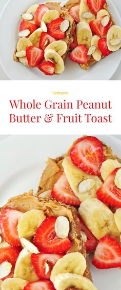 Whole Grain Peanut Butter and Fruit Toast While this is a great breakfast any day of the week, it's especially great after a serious workout. A classic toast breakfast or snack packed with protein for extra energy! Healthy Sweet Snacks, Healthy Breakfast Recipes, Healthy Recipes, Vegetarian Breakfast, Protein Recipes, Healthy Dishes, Skinny Recipes, Healthy Meals, Healthy Food