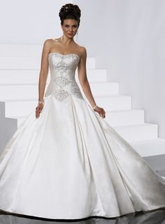 Awesome Ball Gown Strapless Chapel Train Wedding Dress : Weddingshe.com