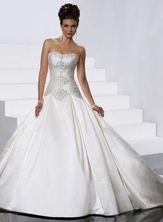 Awesome Ball Gown Strapless Chapel Train Wedding Dress : Weddingshe.com