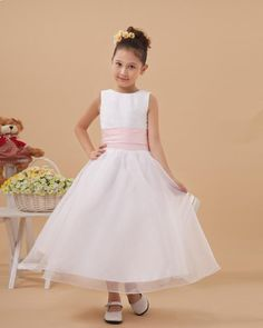Beautiful 2 tone organza meet satin Flower Girl Dress