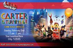 LEGO MOVIE Custom Birthday Party Invitation