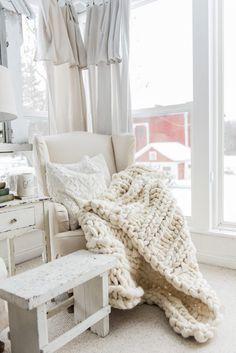 Handmade Chunky Knit Wool Blanket