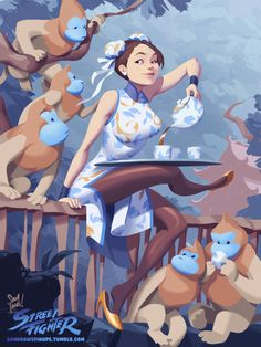 ✿ Chun-Li, Tea, and Mon-keys ✿Hey everyone!! Hope you've all been well. Here's one of Chun-Li wearing a cheongsam; pouring tea for some golden snub-nosed monkeys. This came about mainly because I spent too much time on pinterest and came across one too many pictures of cheongsams, and then, monkeys. And Chun-Li is cool too :)Hope you like it! And as always you can find the hi-res version, for all your wallpapering needs, right…… here (1440 x 1920) <3