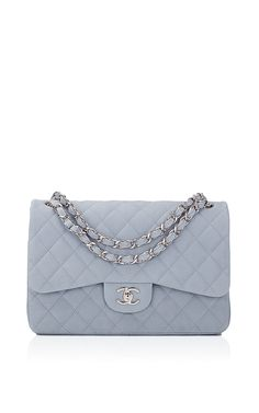 Chanel Pastel Blue Iridescent Quilted Matte Caviar Jumbo Classic Bag by Madison Avenue Couture for Preorder on Moda Operandi