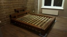 Купить Кровать - коричневый, кровать, массив, брашированная, спальное место, массив дерева