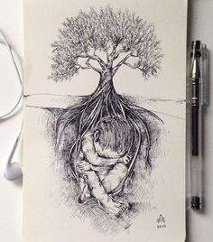 Awasome surreal drawing pen by Alfred Basha