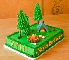 Camping Cake This one was really fun to make! Chocolate cake with vanilla/almond buttercream. Fondant and graham cracker tent. Fondant...