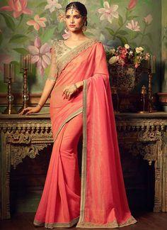 Pink and Cream Embroidered Satin Saree