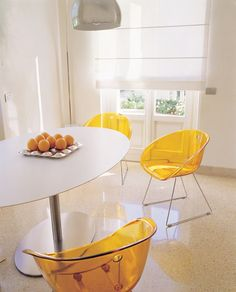 The retro stylish Coco Dining Chair is available in 7 Funky Modern Colours - transparent green, red, orange and smoke grey or opaque white, black or red. Modern Dining Chairs, Upholstered Dining Chairs, Dining Room Chairs, Modern Furniture, Furniture Design, Acrylic Chair, Adjustable Stool, Modern Colors, Orange