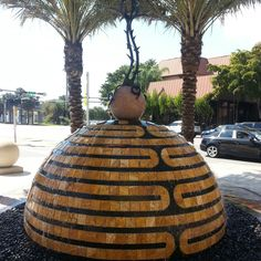 I'm not sure if this water fountain in #Miami is a beehive or a pineapple but I think it is cool regardless. #CoralGables via Amplification, Inc. social media marketing agency. http://amplificationinc.com/