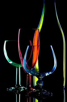 The Lost Sock : Rainbow Glass Still life. Art Du Vin, Wine Glass, Glass Art, Glass Bottles, Glass Photography, Wine Art, Urban Art, Black Backgrounds, Color Splash
