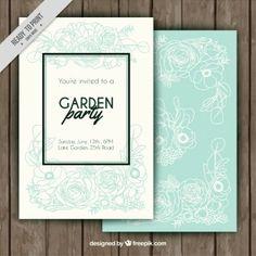 Garten-Party Einladung mit Hand gezeichneten Blumen