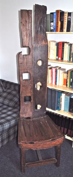 Rustic chair/sculpture. From Castle Cary, Somerset, c.2003. Made from old oak fence and gate posts and timbers.
