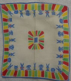 Child's Tom Lamb Blue Animals Stripe Edge Handkerchief  #Unbranded #Childrens