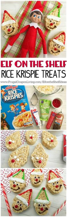 Elf on the Shelf Ideas | Elf Rice Krispie Treats on Frugal Coupon Living - you will never guess what cookie template made the elf treats!