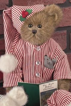 'Twas the night before Christmas and all through the house, not a creature was stirring not even a mouse. Teddy Bear Hug, Tatty Teddy, Cute Teddy Bears, Christmas Teddy Bear, Bear Pictures, Vintage Teddy Bears, Boyds Bears, Bear Wallpaper, Love Bear