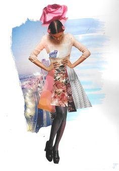 "Collage ""Sweet rose and the city"", handmade, cut out from fashion magazines"