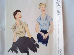 McCall's 3030 short sleeve BLOUSE Easy 50s Blouse with short sleeves & a waistline tie Sz16/34/28/37 used c/c sld 8+fr 4bds 1/24/15