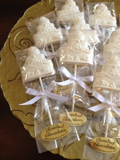 white chocolate wedding cake lollipops bridal shower wedding candy favors