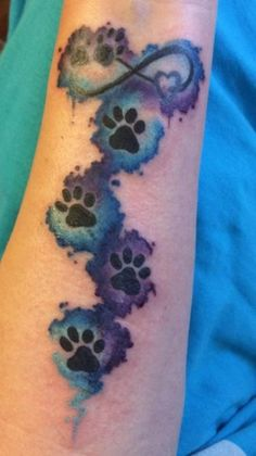 Paw Print Heart Infinity water color blue turquoise purple pet dog cat animal tattoo wrist forearm Source by Wunderlandkatze Dog Tattoos, Cat Tattoo, Forearm Tattoos, Animal Tattoos, Body Art Tattoos, Print Tattoos, Sleeve Tattoos, Cat Paw Print Tattoo, Tatoos