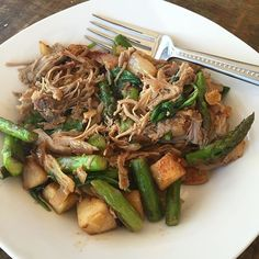 """5 minute breakfast. Fresh asparagus chopped and sautéed then added some leftover Kalua pig (pulled pork), and leftover apples, fennel and onions and tossed in some spinach at the end to wilt down. Seasoned with adobo, pumpkin pie spice and paprika. #paleobreakfast #paleohash #paleoleftovers #feedme #fastpaleo"" Photo taken by @paleohope on"