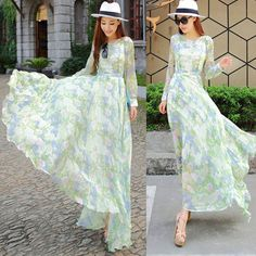 Womens Chiffon Floral Pattern Long Sleeve Maxi Dress Irregularly Hem Long Skirt