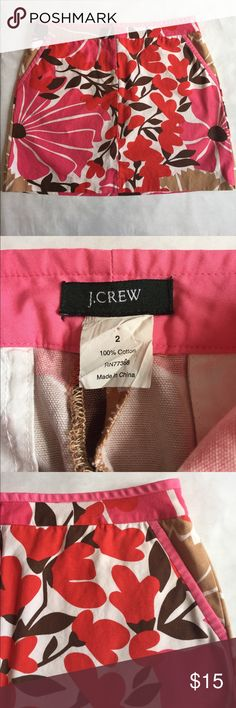 """J. Crew Floral Skirt Bold floral print mini skirt from J. Crew. 100% Cotton. 14.5"""" waist. 16"""" long. Zip and button front closure. 2 front pockets. 2 Back pockets still sewn shut. Pink piping along the waist and on front pockets. EUC J. Crew Skirts Mini"""