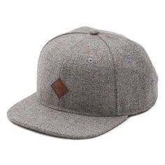 Vans Off The Wall Avery Gray Speck Wool Blend Adjustable Snapback Hat Mens  NWT e493792689b