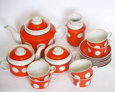 Retro Ceramic Tea Set for Six White Red Polka Dot by cherryshop