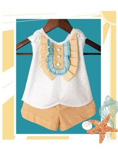 Oh Sunny Day...Little Lady Tuxedo Oxford Ruffle Pinafore Shirt and Polka Dot Shorts - 12 Months