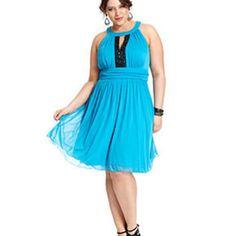 Trixxi Plus Size Dress, Halter Keyhole A-Line - Junior Plus Sizes - Plus Sizes - Macy's