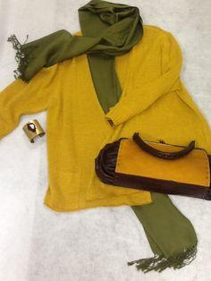 Eileen Fisher Mustard Cardigan; Size XL  $54.00 Anne Klein Green Scarf $16.00 Berge Hand $52.00 Bracelet- $16.00