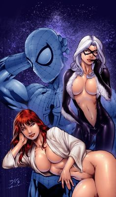 Spider-Man, Mary Jane, and Black Cat by Ed Benes