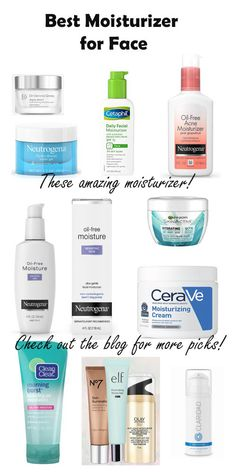 Moisturizers to Help Every Skin Type for Clear Skin 2019 Best Moisturizers for face dry skin,anti aging and combination skin Best Moisturiser For Face, Moisturizer For Oily Skin, Oily Skin Care, Anti Aging Skin Care, Skin Care Tips, Best Drugstore Face Moisturizer, Moisturizer For Combination Skin, Natural Facial Cleanser, Drugstore Skincare