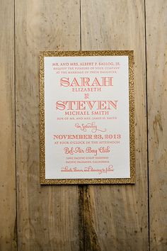 Coral and gold wedding invitation, 2014 wedding trends, glitter wedding invitations. Somehow incorporate navy into this combo Coral Gold Weddings, Gold Glitter Wedding, Glitter Wedding Invitations, Wedding Themes, Diy Wedding, Wedding Decorations, Wedding Day, Wedding Stuff, My Bridal Shower