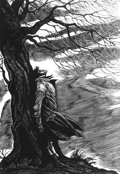 Wuthering Heights - Emily Brontë (with cover and illustrations by Fritz Eichenberg Emily Brontë, Scratchboard, Jane Eyre, Classic Literature, Wood Engraving, Woodblock Print, Printmaking, Illustration Art, Book Illustrations