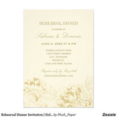 Rehearsal Dinner Invitation | Gold Floral Peony