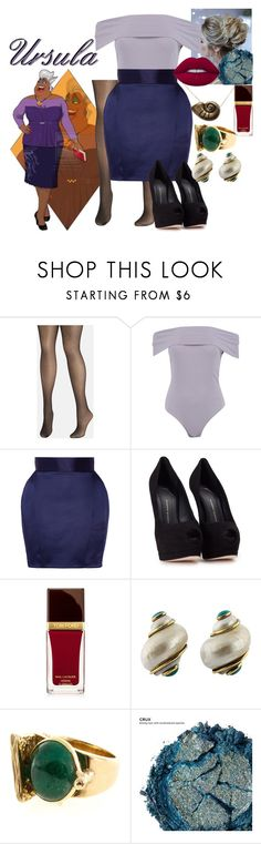 """Disney Gone College - URSULA"" by blackest-raven ❤ liked on Polyvore featuring Disney, Avenue, Boohoo, Balmain, Giuseppe Zanotti, Tom Ford, Seaman Schepps, Urban Decay and Lime Crime"