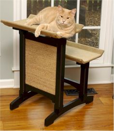 """Double Cat Seat with scratch panel. """"A stylish alternative to ugly cat towers!"""" - I agree! Cat Tree Designs, Cheap Tablecloths, Ugly Cat, Cat Perch, Condo Furniture, Cat Towers, Unique Cats, Cat Condo, Dog Activities"""