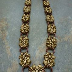 Byzantine squares chainmaille necklace