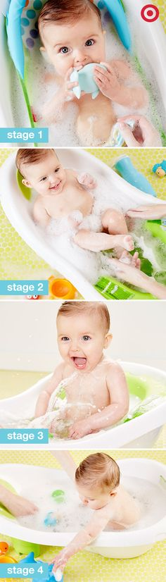 The Fisher-Price 4-in-1 Sling 'n Seat Tub grows with your Baby, stage after stage. This bath center features a soft mesh sling for newborns, baby stopper insert to help prevent slipping and sliding and Sit-Me-Up Support to help unsteady sitters. For added bath time fun—a friendly whale scoop and squeeze bottle are included for some adorable splishing and splashing!