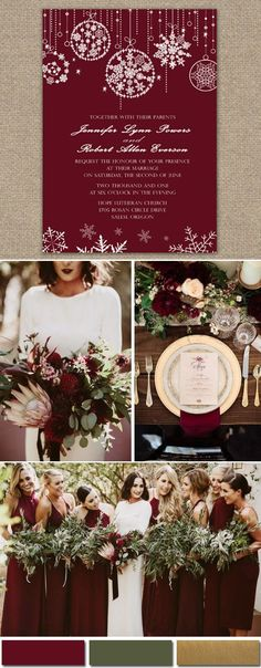 Dark red fall and winter wedding colors and invitationS