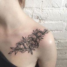 Blackwork Floral Shoulder Tattoo by Anna Bravo