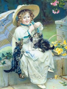 Premium Giclee Print: Playful Kittens by Arthur Elsley : Vintage Pictures, Vintage Images, Art Pictures, Victorian Paintings, Victorian Art, Munier, Photo Chat, Vintage Cat, Belle Photo