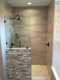 Image result for walk in shower half wall