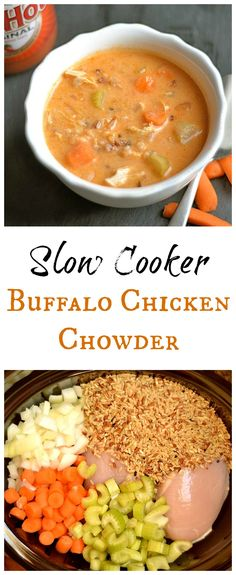 Set it and forget it with this super EASY and DELICIOUS Slow Cooker Buffalo Chicken Chowder! A perfect football food or your next tailgate dish!