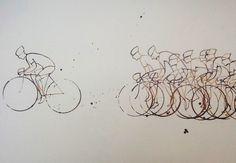 Eliza Southwood es una ilustradora que ha creado la serie Coffee Peloton, con tres tipos de dibujos inspirados en ciclistas profesionales y hechos con granos de café.