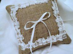 Burlap Ring Bearer Pillow Rustic Vintage Wedding Decor. $24.00, via Etsy.
